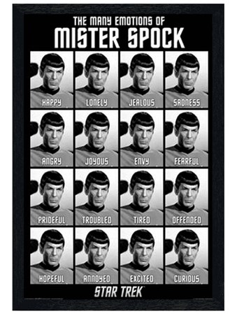 Black Wooden Framed The Many Emotions of Mister Spock - Star Trek