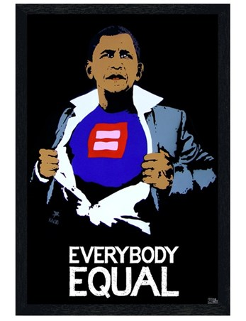 Black Wooden Framed Everybody Equal - Obama