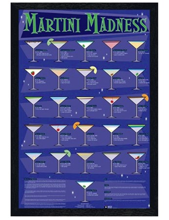 Black Wooden Framed Martini Madness Framed Poster