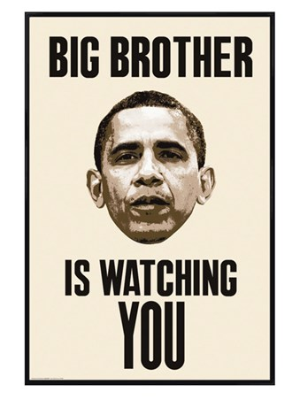 Framed Gloss Black Framed Big Brother Is Watching You - Obama