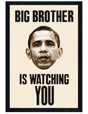 Black Wooden Framed Big Brother Is Watching You - Obama