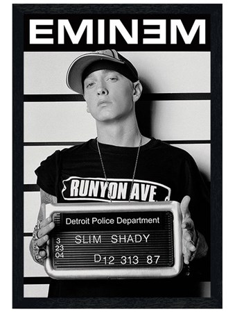 Black Wooden Framed Slim Shady Mugshot - Eminem