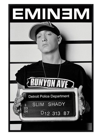 Gloss Black Framed Slim Shady Mugshot - Eminem