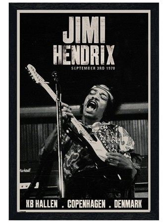 Framed Black Wooden Framed Live in Copenhagen - Jimi Hendrix