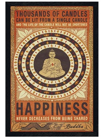Black Wooden Framed Happiness Framed Poster
