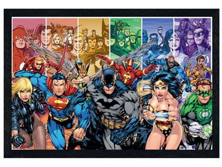 Black Wooden Framed Justice League of America - DC Comics
