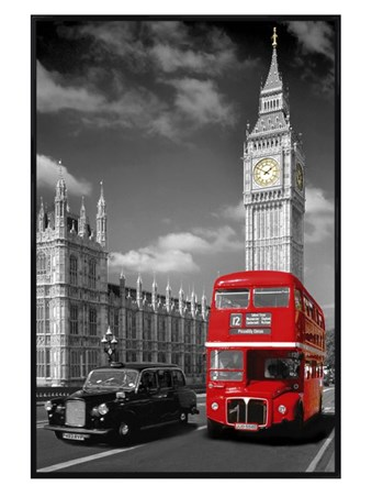 Gloss Black Framed Piccadilly Bus and Black Cab - Iconic London View