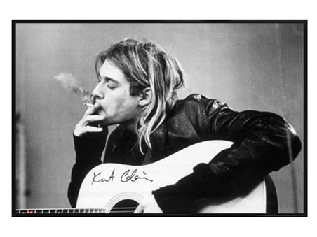 Gloss Black Framed Having a Smoke - Kurt Cobain