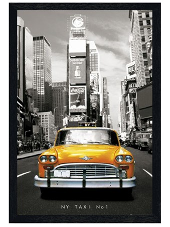 Black Wooden Framed New York Taxi Number 1 - Yellow City Taxi