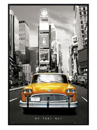 Gloss Black Framed New York Taxi Number 1, New York, USA