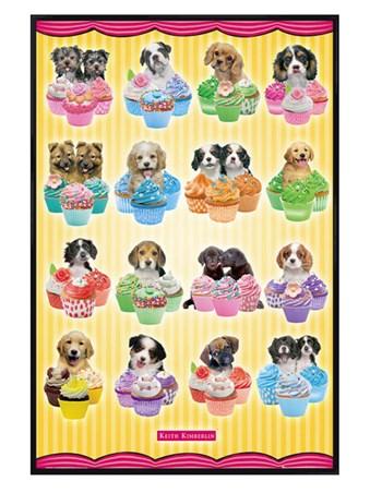 Gloss Black Framed Puppies & Cupcakes - Keith Kimberlin