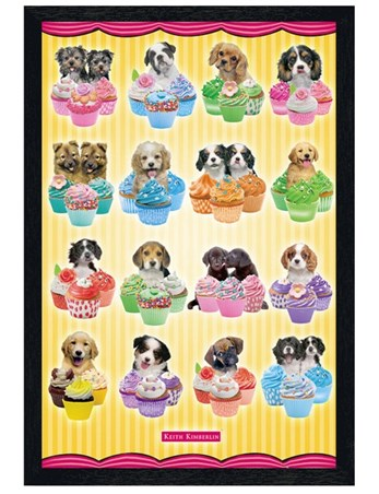 Black Wooden Framed Puppies & Cupcakes - Keith Kimberlin