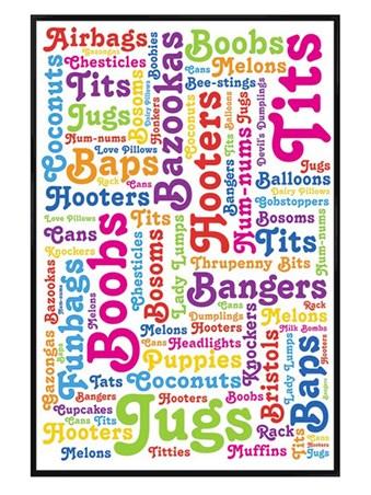 Gloss Black Framed Boob Words - Jugs Galore