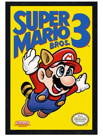 Black Wooden Framed Super Mario Bros 3 Framed Poster