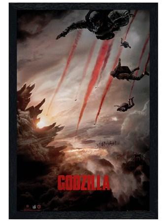 Black Wooden Framed Skydive - Godzilla