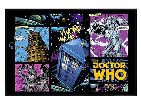 Gloss Black Framed Comicbook Montage - Dr Who