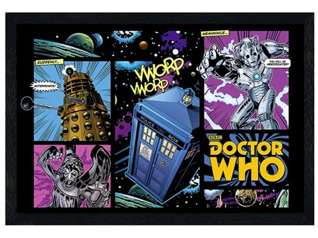 Black Wooden Framed Comic Book Style - Doctor Who