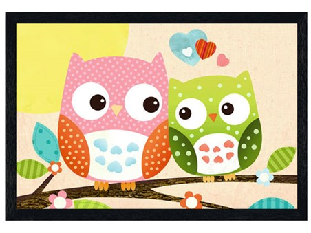 Black Wooden Framed Patchwork Owls -