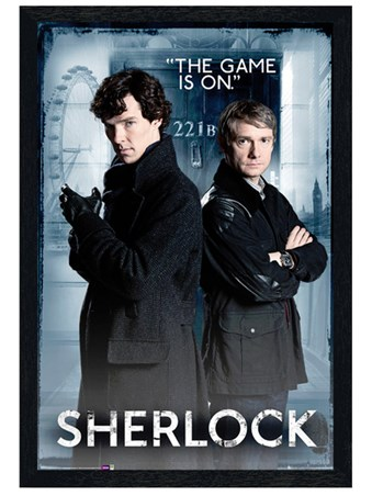 Black Wooden Framed The Game Is On - Sherlock