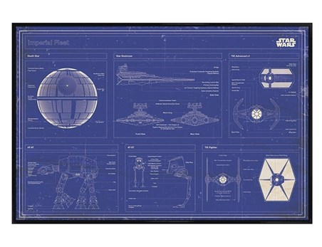 Gloss Black Framed Imperial Fleet Blueprint - Star Wars