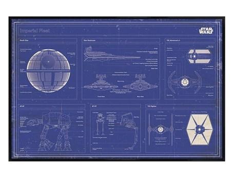 Framed Gloss Black Framed Imperial Fleet Blueprint - Star Wars