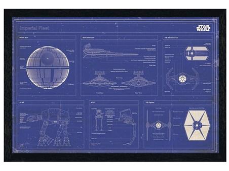 Black Wooden Framed Imperial Fleet Blueprint - Star Wars