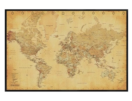 Gloss Black Framed Vintage Style World Map - Map
