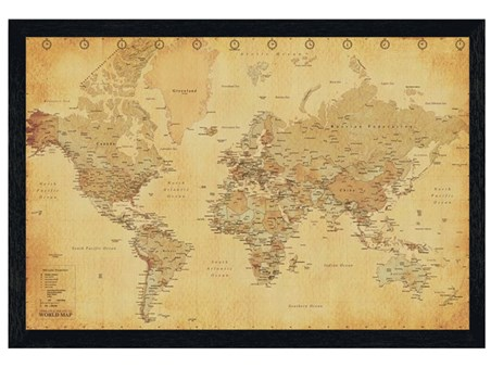 Black Wooden Framed Vintage Style World Map - Atlas