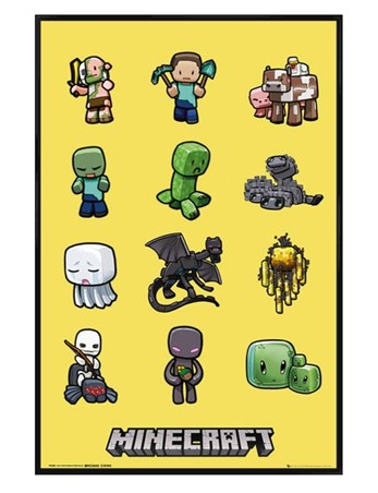 Gloss Black Framed Minecraft Characters -