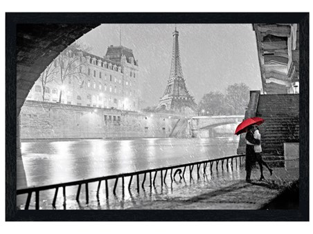 Black Wooden Framed Parisian Kiss - Eiffel Tower