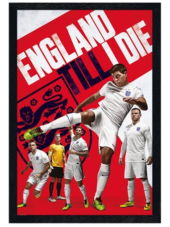 Black Wooden Framed England Till I Die - England Football Team