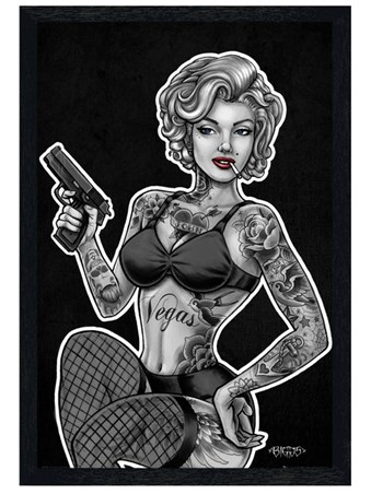 Black Wooden Framed Inked & Armed - Mike Biggs