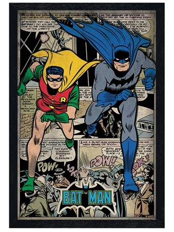 Framed Black Wooden Framed Batman Comic Book Montage - DC Comics