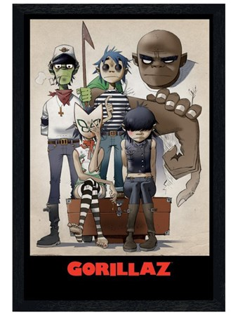Black Wooden Framed All Here - Gorillaz