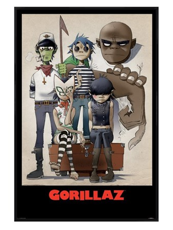 Gloss Black Framed All Here - Gorillaz