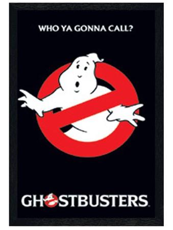 Black Wooden Framed Who Ya Gonna Call? - Ghostbusters Logo