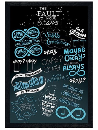 Black Wooden Framed The Fault In Our Stars Typographic - Star Signs