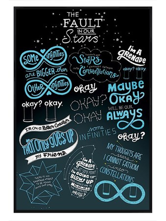 Framed Gloss Black Framed The Fault In Our Stars Typographic - Film and Book Quotes