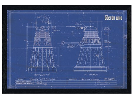 Black Wooden Framed Dalek Blueprint - Doctor Who