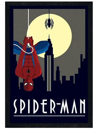 Black Wooden Framed Spider-Man Framed Poster