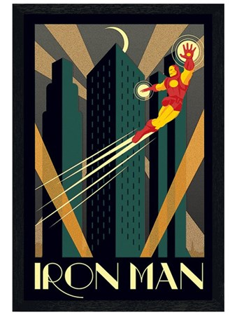 Black Wooden Framed Iron Man - Marvel Deco