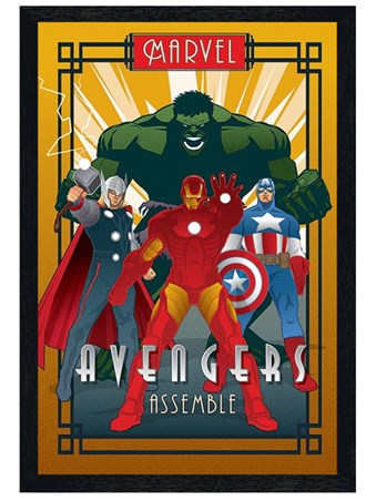 Black Wooden Framed Avengers Assemble - Marvel Deco