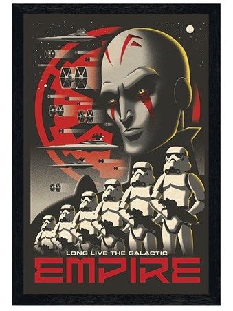 Black Wooden Framed Long Live The Galactic Empire - Star Wars Rebels
