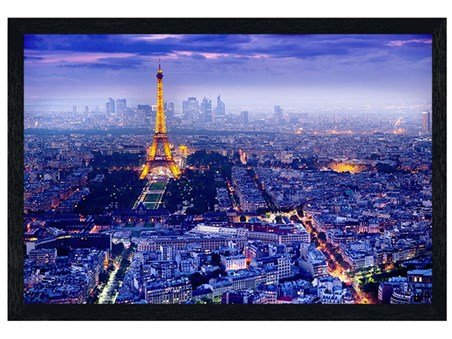 Black Wooden Framed View Over Paris - The City Of Romance