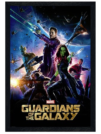 Black Wooden Framed Guardians Of The Galaxy - Superhero Team