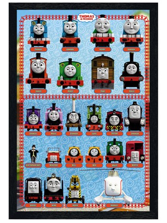 Black Wooden Framed Thomas & Friends - Cast Collection