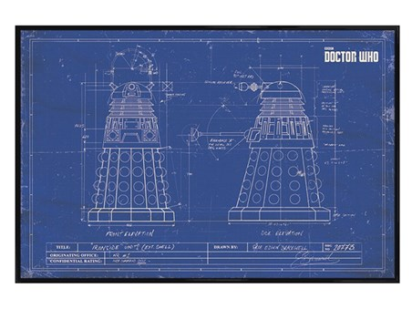 Gloss Black Framed Dalek Blueprint - Doctor Who