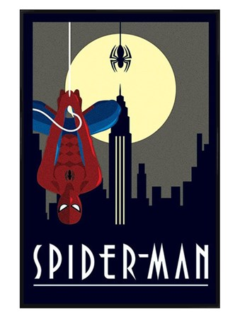 Gloss Black Framed Spider-Man - Marvel Deco