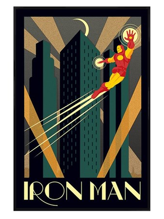 Gloss Black Framed Iron Man - Marvel Deco
