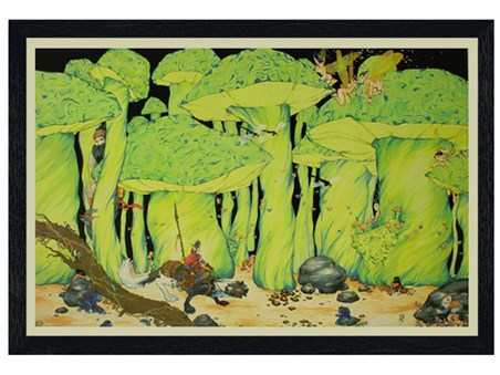 Black Wooden Framed Enchanted Forest - A Mesmering Journey